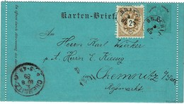 "1889, "" BRANDAU "" Böhmen (2 X 40 Pkte.) , A2316 - Briefe U. Dokumente"