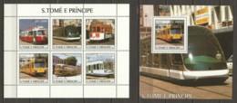 Sao Tome E Principe 2003 Kleinbogen Mi 2290-2295 + Block 463 MNH TRAMS - STRASSENBAHNEN - Tramways