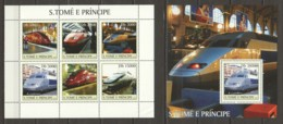 Sao Tome E Principe 2003 Kleinbogen Mi 2332-2337 + Block 470 MNH HIGH SPEED TRAIN LOCOMOTIVES - Trains