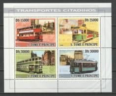 Sao Tome E Principe 2008 Kleinbogen Mi 3571-3574 MNH TRAMS - STRASSENBAHNEN - Tramways