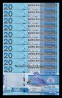Gambia Lot Bundle 10 Banknotes 20 Dalasis 2019 Pick New SC UNC - Gambia