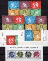 Olympia 1964 Nippon Block 71,LIBYA 166/1ER,3ZD+6-Block A ** 47€ Tokyo Radsport Reiten Hockey Hb Ss Sheet Bf Olympic - Collections, Lots & Series
