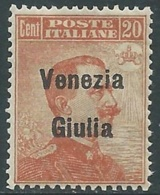 1918-19 VENEZIA GIULIA EFFIGIE 20 CENT MNH ** - UR33 - 8. WW I Occupation