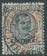 1926 ERITREA USATO FLOREALE 2,50 LIRE - UR29 - Erythrée