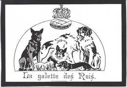 CPM Epiphanie Galette Gateau Des Rois Fève Chien Dog Teckel Lévrier Bouledogue Français - Otros