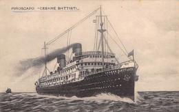 """01258 """"PIROSCAFO - CESARE BATTISTI""""  CART SPED 1933 - BOLLO X ANNUALE POSTE ITALIANE - Banques"""
