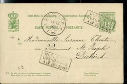 Carte N° 49  Obl. Ambulant: Ulflingen - Luxembourg  14/12/1888 + Obl Diekirch (arrivée) - Entiers Postaux