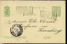 Carte N° 47  Obl. Ambulant: Ulflingen - Luxembourg  29/07/1887 - Entiers Postaux