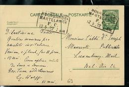 Carte N° 69  Obl. Ambulant: Noerdange - Martelange  12/05/1922 - Entiers Postaux