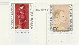 PIA  -  GERMANIA  -  1991  :  Centenario Della Nascita Del Pittore Otto Dix - Sue Opere  -  (Yv  1404-05) - Moderni