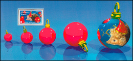 Block 82 Weihnachten Und Neujahr: Igel Hut Christbaumkugeln ** - Frankreich
