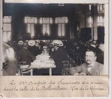 LE 22 CONGRÈS DES CHEMINOTS LA SALLE DE LA BELLEVILLOISE CHEMIN DE FER  18*13CM Maurice-Louis BRANGER PARÍS (1874-1950) - Trains