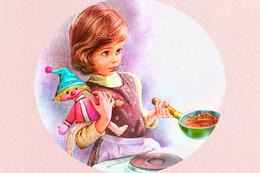 №183.16 Postcard Modern New Little Girl Cooks Porridge Children's Toy Beautiful - Illustrators & Photographers
