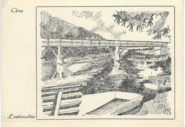 CHINY : L'Embarcadère - RARE ILLUSTRATION De Alroy - Chiny