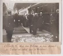 ALBERT 1ER ROI DES BELGES DÉPART DE PARIS SALUE PAR LÉPINE 18*13CM Maurice-Louis BRANGER PARÍS (1874-1950) - Trenes
