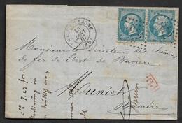 1867 - LAC - Chalon-sur-Saône 2 X 20c (22) A MUNICH,Baviére - Via Strasbourg - Poststempel (Briefe)