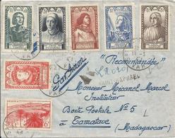 1947 - N° 765 à 770 (série Complète) + 777 Oblitérés Sur Lettre RECOMMANDE PAR AVION - Griffe Linéaire ST RAPHAEL - France