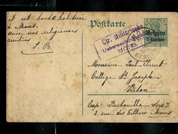 Carte N° 1  Obl. Mons - Bergen 1916 + Censure Mauve De Mons Pour Virton - Entiers Postaux