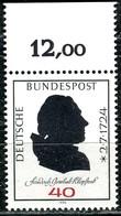 BRD - Mi 809 Oberrand - ** Postfrisch (C) - 40Pf                         Friedrich Gottlieb - [7] República Federal