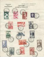 1947 - DOCUMENT EXCEPTIONNEL - PARLEMENT CONGRES DE VERSAILLE - 16 Timbres Oblitérés Sur Feuille - France