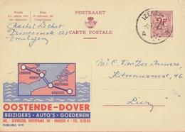 PUBLIBEL 1910°: ( OOSTENDE:DOVER )  : KANAAL,CANAL,CHANNEL,ZEE,MER,SEA,LANDKAART,CARTE GEOGRAPHIQUE,MAP, - Entiers Postaux