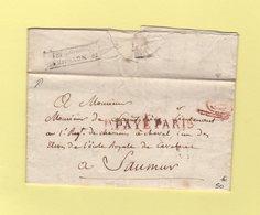 Marque D Arrivee De Saumur - 14 Novembre 1817 - Sur Lettre En Port Paye De Paris Pour Un Lieutenant Chasseurs A Cheval - Postmark Collection (Covers)