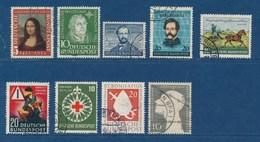Bund 1952 - 1954 Lot 9 Werte: Mona Lisa  Luther Otto Schurz Postkutsche Verkehrsunfall Rotes Kreuz Bonifatius Kriegsgefa - Gebraucht