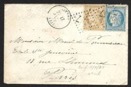 Calvados-Enveloppe-Gros Chiffre 2057 De Littry-Cachet à Date Type 16 - 1849-1876: Classic Period