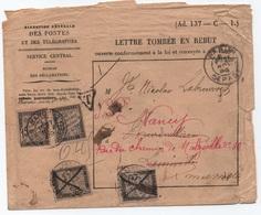 Enveloppe Lettre Tombée En Rebut 1889 Taxe BANDEROLE DUVAL Luneville Puis Nancy... INCONNU, REVOIR PARIS Retour REBUTS ? - Segnatasse
