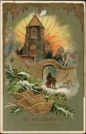Neujahr Sylvester Goldprägekarte Kirchgang Glockenspiel 1911 Goldrand - Anno Nuovo
