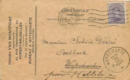 Belgique. TP 139  CP Bruxelles Midi > Wytschaete  1921   Plis - Marcophilie