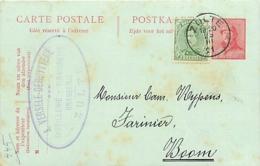 Belgique.  CP 64 + TP 137 B   Zulte > Boom 1921 - Marcophilie
