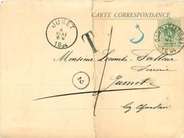 Belgique.  TP 45 CP Gand (Station) > Jumet  1894  Taxée Parce Que Trop Grande Et Trop épaisse, Pliée Selon Règlement - Marcophilie