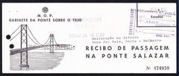 Payment Bridge Toll - Recibo Passagem Na Ponte Salazar/ Rio Tejo, Lisboa // Portugal 1967 - Portugal