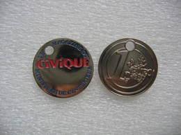 """1 Jeton De Caddies """"CIVIQUE"""", Le Magazine Du Ministere De L'interieur. (Sans Le Porte Clef) - Trolley Token/Shopping Trolley Chip"""