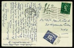 Ref 1322 - GB 1957 - 1d Postage Due Postcard - Cricklewood London - 1952-.... (Elizabeth II)