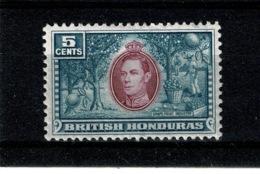 Ref 1322 - British Honduras 1938 - 5c SG 154 - Mint Stamp - British Honduras (...-1970)