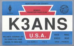 US.- QSL KAART. CARD. K3ANS. WILIAM N. GOODMAN, EASTON, PENNSYLVANIA, NORTHHAMPTON COUNTY. USA. ARRL. - Radio-amateur
