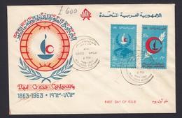 Egypt Egyptian FDC First Day Cover UAR United Arab Republic Cairo FDI Red Cross Centenary 1963 - Egypt