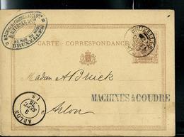 Carte Obl. N° 3  Obl. Bruxelles  Pour Arlon 03/09/1875 - Entiers Postaux