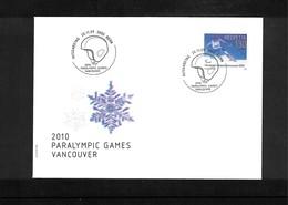 Schweiz / Switzerland 2010 Paralympic Games  Vancouver FDC - Winter 2010: Vancouver