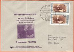 GERMANIA - GERMANY - Deutschland - ALLEMAGNE - 1982 - 2 X 100 Jahre Entdeckung Des Tuberkulose-Erregers, Robert Koch - F - FDC: Buste