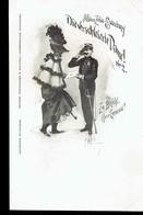 """CPA.  *AFFAIRE ZOLA-ESTERHAZY*. * N°1-LA DAME VOILEE / DIE VERSCHLEITE DAME* 1898*  .""""Zu Befeh! Heer Général. - Evénements"""