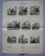 Grande Page Illustrée Gravure Münchener Bilderbogen Der Verhängnisvolle Durit Braun & Schneider N°846 Chevaux Chute - Prints & Engravings