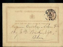 Carte Obl. N° 6  Obl. St-Hubert 08/10/1876 Pour Arlon - Entiers Postaux