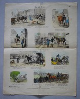 Grande Page Illustrée Gravure Münchener Bilderbogen Rob Und Reiter Braun & Schneider N°807 Chevaux Chute Cavaliers - Prints & Engravings