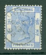 Hong Kong: 1882/96   QV     SG35a     5c   Blue     Used - Hong Kong (...-1997)