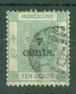Hong Kong: 1891   QV - Surcharge    SG43     7c On 10c    Used - Hong Kong (...-1997)