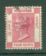Hong Kong: 1900/01   QV     SG57     4c   Carmine    Used - Hong Kong (...-1997)