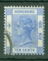 Hong Kong: 1900/01   QV     SG59     10c   Ultramarine   Used - Hong Kong (...-1997)